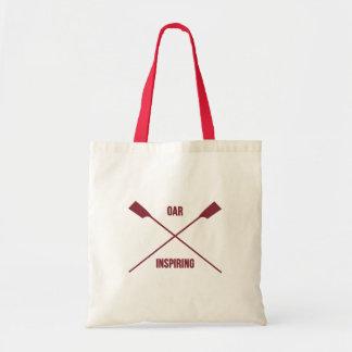 Oar inspiring slogan and crossed oars maroon tote bag