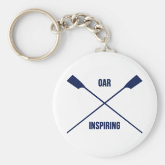 Oar inspiring slogan and crossed oars navy basic round button keychain