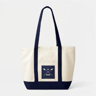 Oar inspiring slogan and crossed oars navy tote bag
