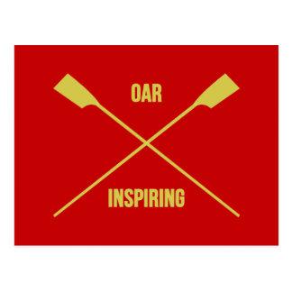 Oar inspiring slogan and crossed oars red postcard