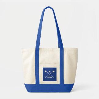 Oar inspiring slogan and crossed oars royal blue tote bag