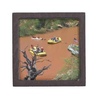 Oar powered rafts turn into the Colorado River Premium Trinket Boxes
