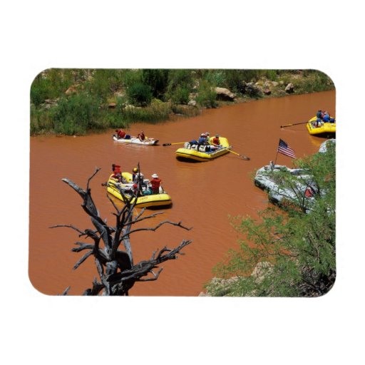 Oar powered rafts turn into the Colorado River Rectangular Photo Magnet