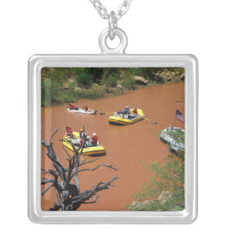 Oar powered rafts turn into the Colorado River Silver Plated Necklace