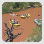 Oar powered rafts turn into the Colorado River Square Sticker