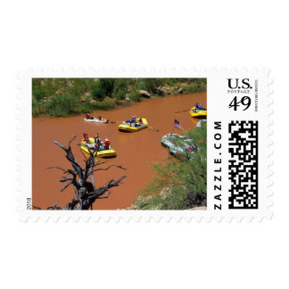 Oar powered rafts turn into the Colorado River Stamps