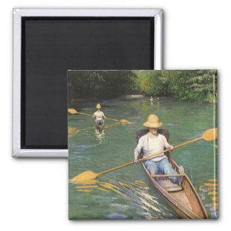 Oarsmen by Caillebotte, Vintage Impressionism Art Magnets