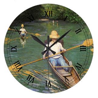 Oarsmen by Gustave Caillebotte, Vintage Fine Art Large Clock