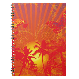 oasis-256649 HOT SUMMER RED YELLOW PALM TREES RAYS Spiral Notebooks