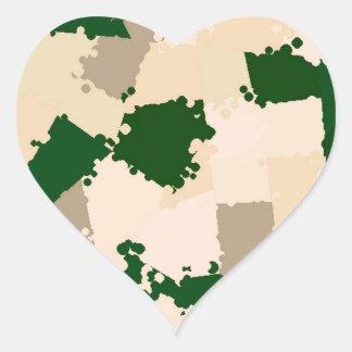 Oasis Camo del desierto Calcomanía De Corazón