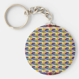 OASIS Waves Flowers Pattern Graphic Deco Art GIFTS Key Chain