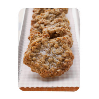 Oat biscuits on plate rectangular photo magnet