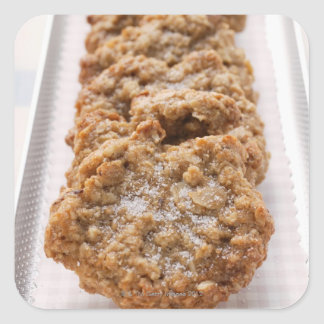 Oat biscuits on plate square sticker