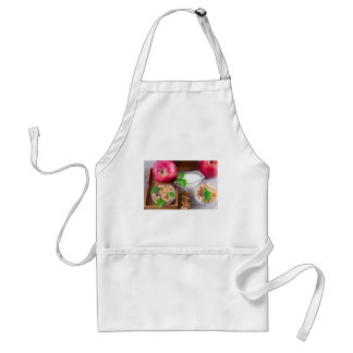 Oat cereal with nuts and raisins adult apron