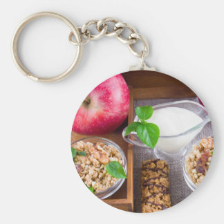 Oat cereal with nuts and raisins keychain