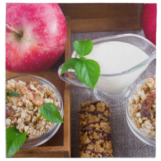 Oat cereal with nuts and raisins napkin