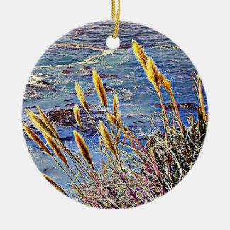 Oat Grass & Waves Ceramic Ornament