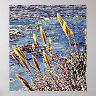 Oat Grass & Waves Poster