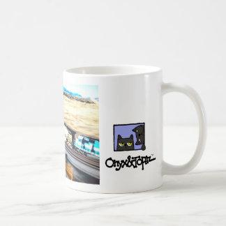 oat on a broomstick next to train, oatTRADEMARK... Classic White Coffee Mug