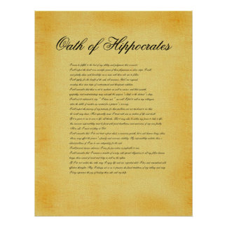 Oath of Hippocrates, canvas parchment look Poster
