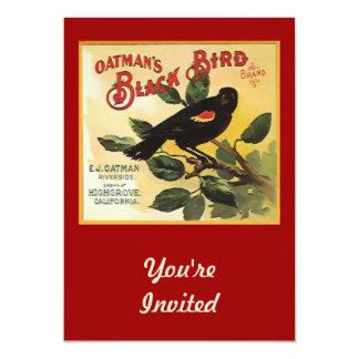 "Oatman's Black Bird Brand Fruit Crate Label 5"" X 7"" Invitation Card"