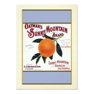 "Oatmans Sunny Mountain Oranges 5"" X 7"" Invitation Card"