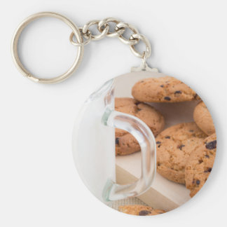 Oatmeal cookies and milk for breakfast close-up keychain