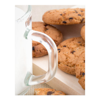 Oatmeal cookies and milk for breakfast close-up letterhead