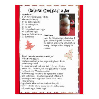 Oatmeal Cookies In A Jar Recipe Postcard