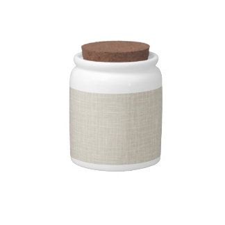 Oatmeal Tan Faux Linen Fabric Textured Background Candy Dish