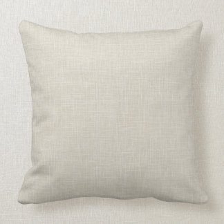 Oatmeal Tan Faux Linen Fabric Textured Background Throw Pillow