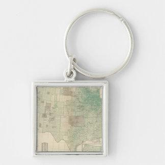 Oats per square mile Silver-Colored square keychain