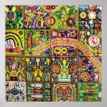 Oaxaca Mexico Mexican Mayan Tribal Art Boho Travel Poster