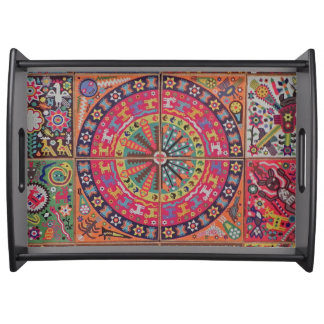 Oaxaca Mexico Mexican Mayan Tribal Art Boho Travel Serving Tray
