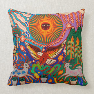 Oaxaca Mexico Mexican Mayan Tribal Art Boho Travel Throw Pillow