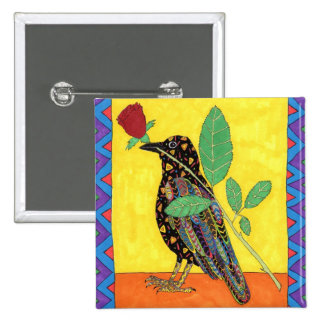 Oaxacan Crow with Red Rose Pinback Button