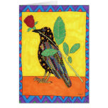 Oaxacan Crow with Red Rose Greeting Card