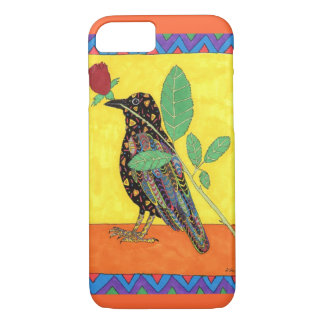 Oaxacan Crow with Red Rose iPhone 7 Case