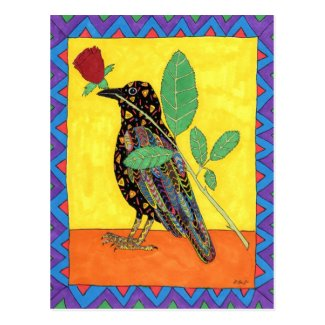 Oaxacan Crow with Red Rose