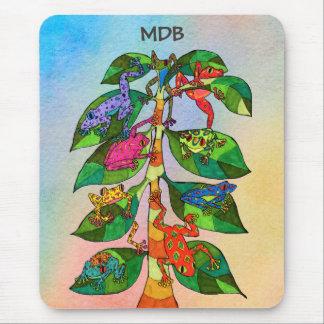 Oaxacan Frog Tree of Life Custom Monogram Mouse Pad