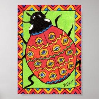 Oaxacan Ladybug Mini Mexican Folk Art Poster
