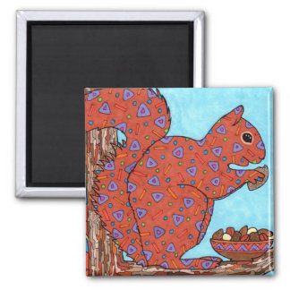 Oaxacan Squirrel with Mixed Nuts Refrigerator Magnets