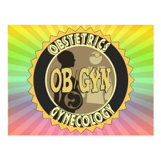 OB/GYN BADGE FEMALE DOCTOR LOGO POSTCARD