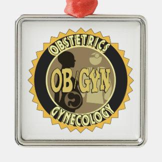 OB/GYN FEMALE DOCTOR LOGO METAL ORNAMENT