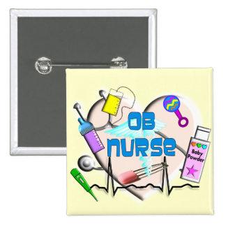 OB Nurse Art Gifts 2 Inch Square Button