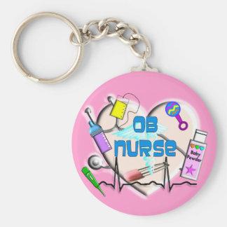 OB Nurse Art Gifts Basic Round Button Keychain