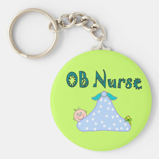 OB Nurse Gifts, Baby in Blanket--Adorable Basic Round Button Keychain