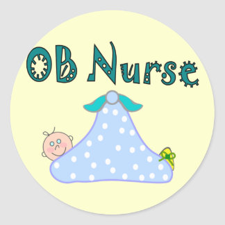 OB Nurse Gifts, Baby in Blanket--Adorable Classic Round Sticker