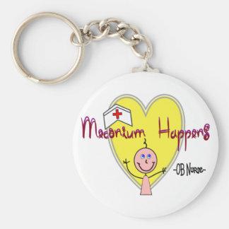 "OB Nurse ""Meconium Happens"" Hilarious Basic Round Button Keychain"