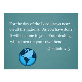 Obadiah 1 15 postcard